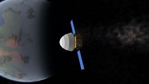 Tianwen-1 matkalla avaruudessa (kuvakaappaus videolta).