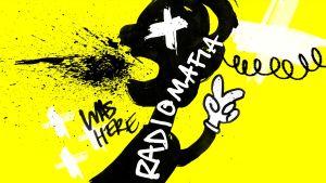 Graafinen kuva: keltaisella taustalla musta hahmo, jonka suusta lentää sylkeä tai jotain