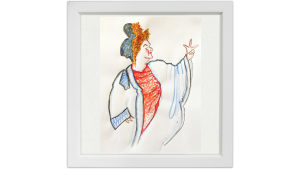 Lassi Rajamaan piirros oopperalaulaja Kirsi Tiihosesta.