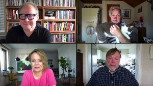 Entä jos -ohjelmasta neljään osaan jaettu kuva. Kuvassa Jari Tervo, Jani Halme ja hänen kissansa, Mari K. Niemi sekä Markus Leikola.