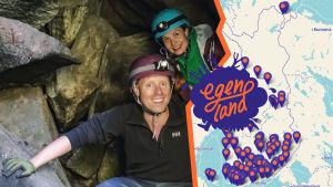 Egenlandin juontajat Nicke Aldén ja Hannamari Hoikkala kypärät ja otsalamput päässä tulossa ulos luolasta, kuvaan yhdistetty Suomen kartta