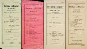 Edvard Fazerin konserttitoimiston 1908-1921 järjestämien konserttien käsiohjelmia.