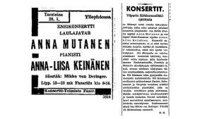 Ilmoitus ja konserttiarvio oopperalaulaja Anna Mutasen ja pianisti Anna-Liisa Keinäsen pitämästä yhteisestä ensikonsertista Helsingissä tammikuussa 1939.