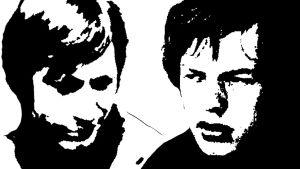 Mustavalkoinen piirros, jossa Charlie Watts ja Mick Jagger.