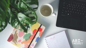 tietokone, kalenteri, vihko, kasvi ja tyhjä kahvikuppi ylhäältä päin kuvattuna