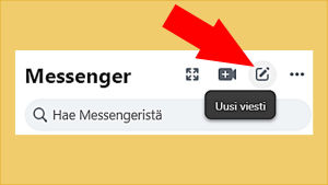 Kuvakaappaus Facebookista: Yläpalkista avattuna Messenger ja sieltä valittuna Uusi viesti.