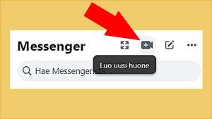 Kuvakaappaus Facebookista: Avattuna Messenger ja sieltä videokameran kuvakkeesta Luo uusi huone, jolloin ryhmävideopuhelu onnistuu.