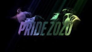 Pride 2020 -kampanjanmarkkinointikuva. Mustalla taustalla näkyy Thelma- ja Call Me by Your Name -elokuvien päähahmojen kasvot, keskellä teksti Pride 2020.