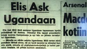 Ilta-Sanomat uppmärksammar Elis Asks resa till Uganda 27.7.1977Elis Ask