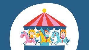 Pikku Kakkosen kortti, kuva-aihe lapset karusellissa