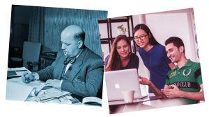 Kuvapari, mustavalkokuva, jossa mies pöydän ääressä, värikuva, jossa toimistotyöntekijöitä.