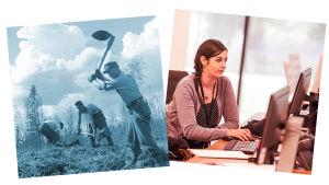 Kuvapari, toisessa kuokitaan maata, toisessa toimistotyöntekijä.