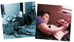 Kuvapari, lekoilevia työmiehiä ja sängyssä kännykkää katseleva ihminen.