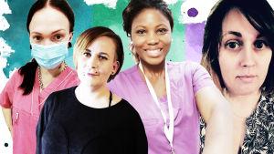 Fyra kvinnor framför en akvarellmålad bakgrund.