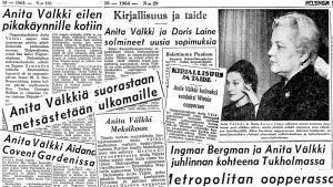 Anita Välkin nimi nousi säännöllisesti lehtien otsikoihin hänen kansainvälisellä urallaan 1960-luvulla.