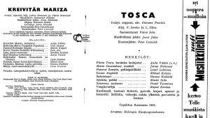 Käsiohjelmia Suomen Kansallisoopperasta 1950-luvulta.