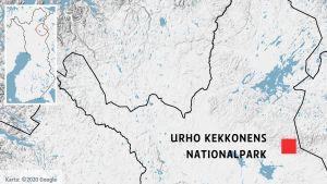 Urho Kekkonens nationalpark på en karta.