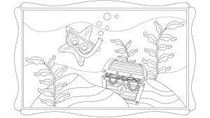 Pikku Kakkosen Eskari-sovelluksen tulostettava paperi, värityskuva meritähti