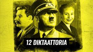 Keltasävyinen kuva, jossa rintakuvat Stalinista, Hitleristä sekä Eva Peronista.