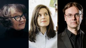 Monika Fagerholm, Jenny Lucander och Sampo Haapamäki.