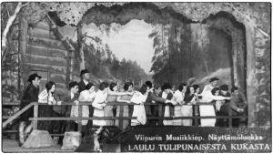 Viipurin Musiikkiopiston näyttämöluokka esittää Laulu tulipunaisesta kukasta.