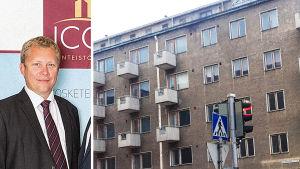 Rami Virtanen ja Lahdessa sijaitseva kiinteistö, jonka Icon osti Nuorisosäätiöltä.
