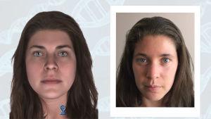 Vapaaehtoisen henkilön DNA-näytteestä mallinnettu kasvokuva ja henkilöstä otettu valokuva.