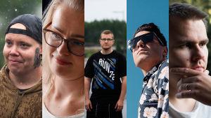 Some Deep Story -dokumenttisarjan päähenkilöt Jaakko, Maija, Niko, Daniel ja Joni.