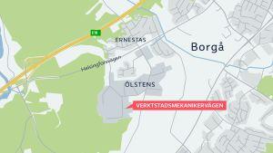 Grafik karta över stadsdel i Borgå