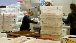 Kvinna omgiven av vita plastbackar i matutdelningshall i Kvarnbäcken Helsingfors