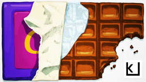Suklaalevy, josta on puraistu kaksi haukkua.