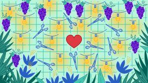 Saksia, valonauhaa, viinirypäleitä ja kukkia ympäri kuvaa. Keskellä sydän.