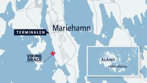 Karta över plasten där Viking Grace stötte på grund.