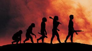 Tulinen taivas ja ihmis-/apinahahmoja.