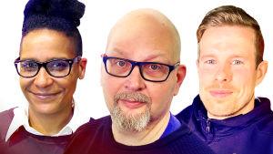 Kuvassa vasemmalta oikealle: Lina Paavilainen, Timo Hämäläinen ja Santeri Nieminen.