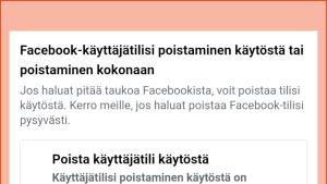 Kuvakaappaus Facebookin asetuksista: Valittuna Poista käyttäjätili käytöstä.
