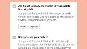 Kuvakaappaus Facebookin asetuksista: Kun tilin haluaa poistaa kokonaan, Facebook muistuttaa että Messenger poistuu samalla ja neuvoo lataamaan omat tiedot.