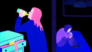 Kuvituskuva, jossa äiti kallistaa pulloa ja lapsi istuu sängyllä