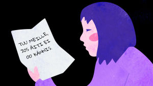 Kuvituskuva, jossa lapsi lukee kirjettä.