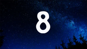 Kuvituskuva. Tähtitaivas ja joulukalenterin luukku nro 8.