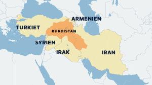 En karta som visar var de kurdiska bosättningsområdena finns i gränslandet mellan Turkiet, Syrien, Irak, Iran och Armenien.