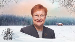 Tarja Halonen mot en vintrig bakgrund.