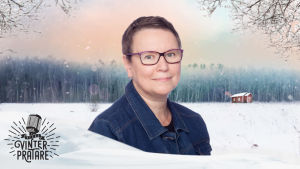 Camilla Svevar mot en grafisk vintrig bakgrund.