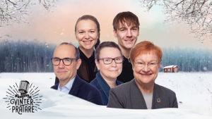 Fem personer mot en grafisk vintrig bakgrund. Fritjof Sahlström, Camilla Svevar, Tarja Halonen, Andrea Reuter, Kevin Holmström.