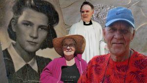 Bildkollage med fyra personer: ett svartvitt gammalt foto på en ung kvinna och tre nya bilder med porträtt på en kvinna och två män.