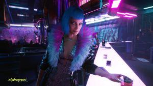 Sinihiuksinen nainen baarissa videopelissä