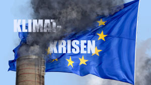 En skorsten sveper svart rök ovanpå EU-flaggan. Bildredigeringsillustration.