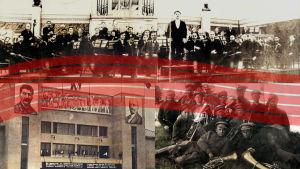 Kuvakollaashissa Petroskoin sinfoniaorkesteri vuonna 1937, Valistustalo ja Tseljabinskin vankileirin puhallinyhtye.