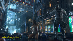 Skärmdump ur Cyberpunk 2077. En kvinna sitter på knä på asfalten. Brevid henne står en man i stridsutrustning. Han riktar en pistol mot kvinnans huvud