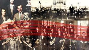 Kuvakollaashissa Petroskoissa vaikuttanut säveltäjä Karl Rautio perheineen, Petroskoin sinfoniaorkesteri, leningradilainen jazz-orkesteri ja petroskoilaisia opettajaopiston talkoolaisia.